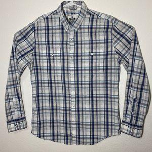 Express Mens Large White Plaid LS Button Up Shirt